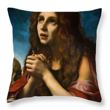 The Penitent Magdalen Throw Pillow by Carlo Dolci