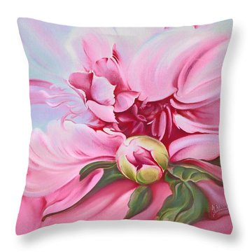 Throw Pillow featuring the painting The Peony by Anna Ewa Miarczynska