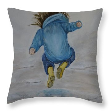 The Perfect Puddle... Jump Throw Pillow by Kelly Mills