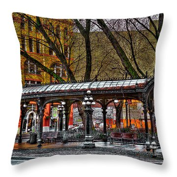 The Pergola In Pioneer Square - Seattle  Throw Pillow by David Patterson