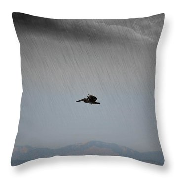 The Persevering Pelican Throw Pillow