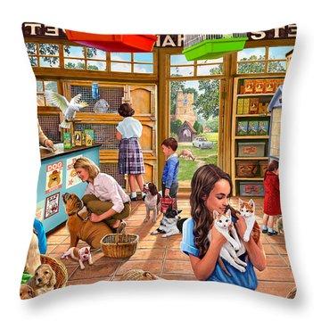 The Pet Shop Throw Pillow by Steve Crisp