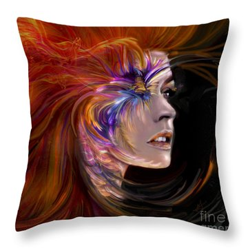 The Phoenix  Fire Flames And Rebirth Throw Pillow