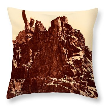 Throw Pillow featuring the photograph The Photographer On Pinnacle Peak Early 1900 Era by Eddie Eastwood
