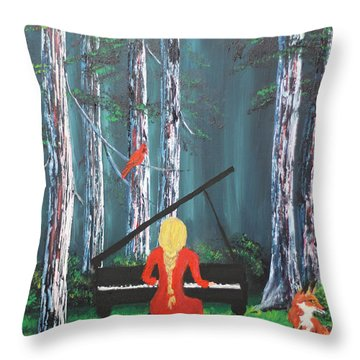 The Pianist In The Woods Throw Pillow by Patricia Olson