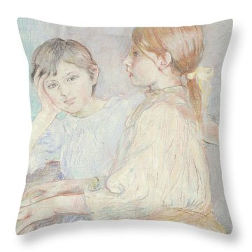 The Piano Throw Pillow by Berthe Morisot