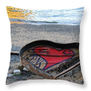 The Piano In New York Harbor Throw Pillow