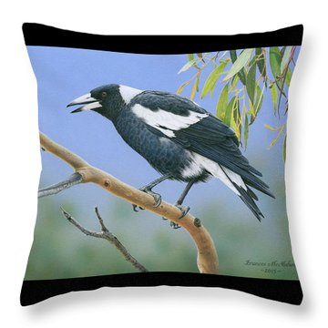 The Pied Piper - Australian Magpie Throw Pillow by Frances McMahon