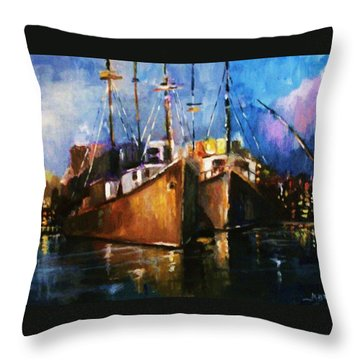 Throw Pillow featuring the painting The Pier At Sunset by Al Brown