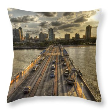 The Pier In Saint Petersburg Florida Throw Pillow by Timothy Lowry
