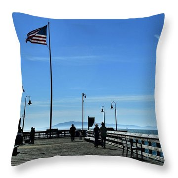 Throw Pillow featuring the photograph The Pier by Michael Gordon