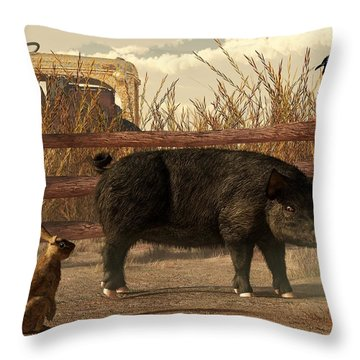 The Pig And The Hare Throw Pillow by Daniel Eskridge