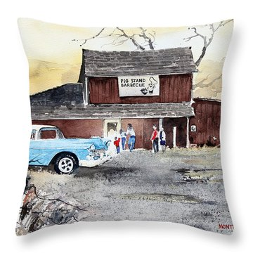 The Pig Stand Throw Pillow