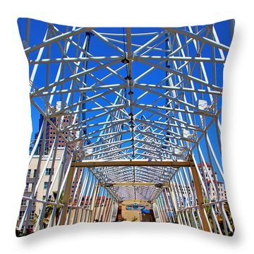 The Pike In Long Beach Throw Pillow by Mariola Bitner