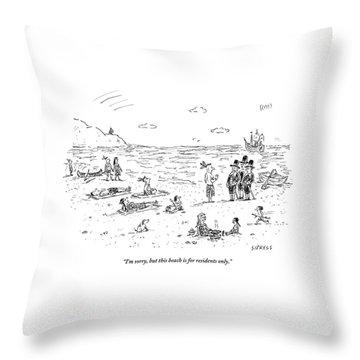 The Pilgrims Arrive At A Native American Beach Throw Pillow