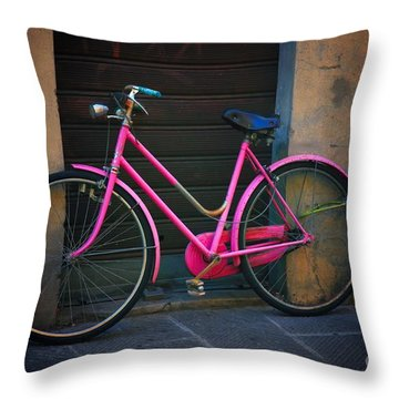 The Pink Bicycle Throw Pillow by Nicola Fiscarelli