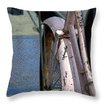 Throw Pillow featuring the photograph The Pink Bicyclette by Nadalyn Larsen