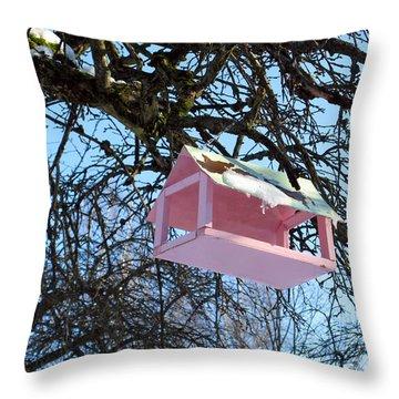 The Pink Bird Feeder Throw Pillow by Ausra Huntington nee Paulauskaite