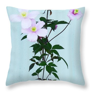 The Pink Clematis Throw Pillow by Steve Taylor