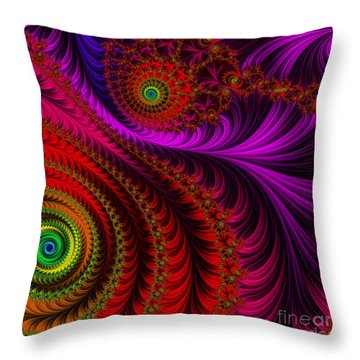The Pink Feathers Throw Pillow by Mary Machare