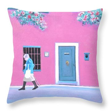 The Pink House With Green Shutters Throw Pillow