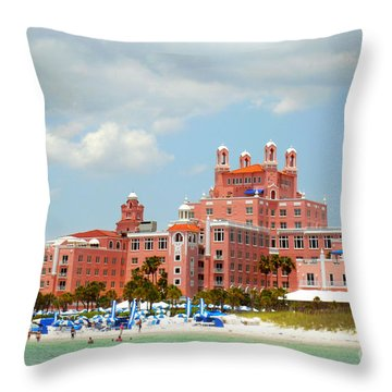 The Pink Palace Throw Pillow by Valerie Reeves