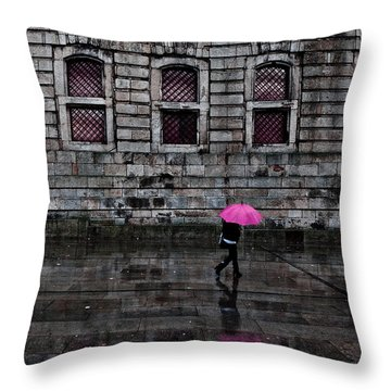 The Pink Umbrella Throw Pillow by Jorge Maia