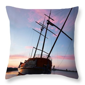 The Pirate Ship Throw Pillow by Barbara McMahon