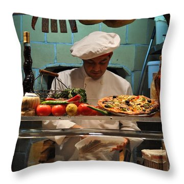 The Pizza Maker Throw Pillow by Mary Machare