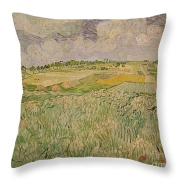 The Plain At Auvers Throw Pillow by Vincent Van Gogh