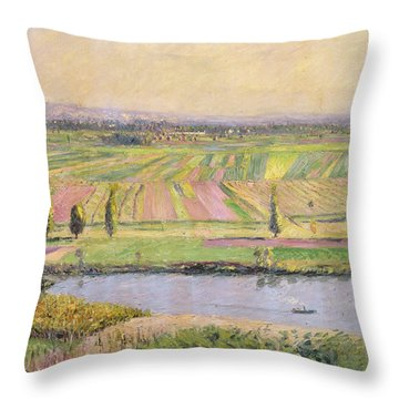 The Plain Of Gennevilliers From The Hills Of Argenteuil Throw Pillow by Gustave Caillebotte