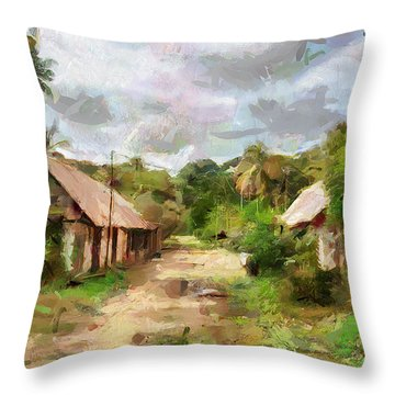 Throw Pillow featuring the painting The Plantation by Wayne Pascall