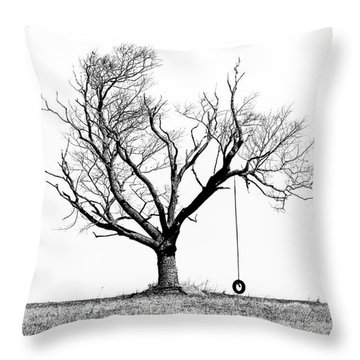 The Playmate - Old Tree And Tire Swing On An Open Field Throw Pillow