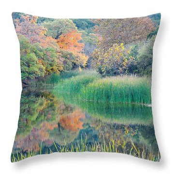 The Pond At Lost Maples State Natural Area - Texas Hill Country Throw Pillow