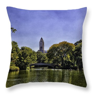 The Pond - Central Park Throw Pillow by Madeline Ellis