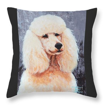 Attentive Poodle Throw Pillow