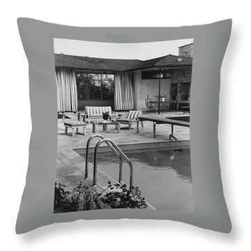 The Pool And Pavilion Of A House Throw Pillow