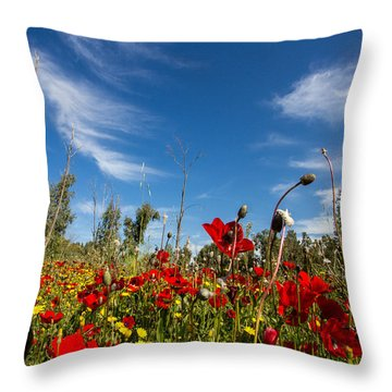 The Poppies Field Throw Pillow