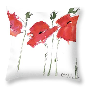 The Poppy Ladies Throw Pillow by Kathleen McElwaine