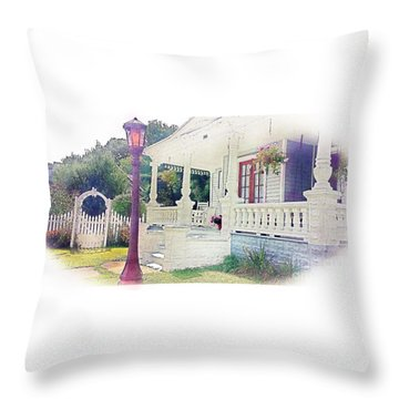 The Porch Lamp Post And The Gate Throw Pillow