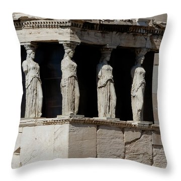 The Porch Of Maidens Throw Pillow