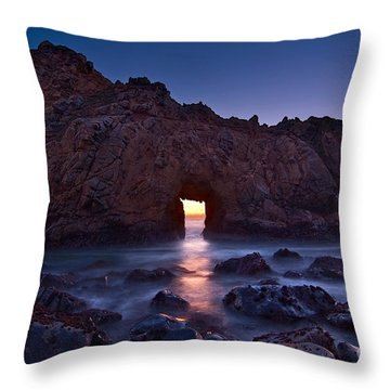 The Portal - Sunset On Arch Rock In Pfeiffer Beach Big Sur In California. Throw Pillow by Jamie Pham