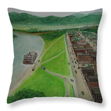 The Portsmouth Ohio Boneyfiddle District 1948 Throw Pillow