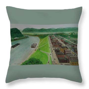The Portsmouth Ohio Boneyfiddle District 1948 Throw Pillow by Frank Hunter