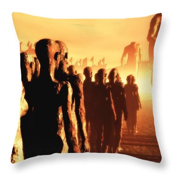 Throw Pillow featuring the digital art The Post Apocalyptic Gods by John Alexander