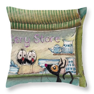 The Pottery Store Throw Pillow by Lucia Stewart
