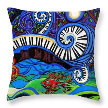 The Power Of Music Throw Pillow by Genevieve Esson