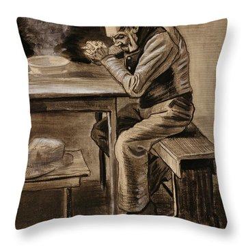 The Prayer Throw Pillow by Vincent Van Gogh