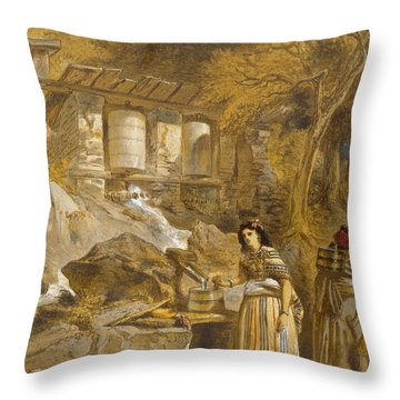 The Praying Cylinders Of Thibet Throw Pillow by William 'Crimea' Simpson