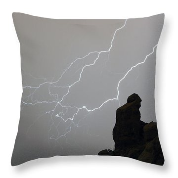 The Praying Monk Lightning Storm Chase Throw Pillow by James BO  Insogna